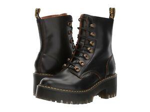 Women's Shoes Dr. Martens LEONA Leather Platform 7 Eye Boots 22601001 BLACK