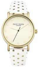 Daisy Dixon Candice Reloj de Mujer DD022WG Analógico Cuero Oro, Blanco