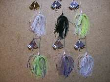 6 Custom Made Buzz Bait (1/8oz) Bass Fishing Lures (Powder Coat Finish)