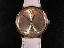 Vicence Italy Solid 14K Yellow Gold Quartz Mens Women's Ladies Watch & Diamonds