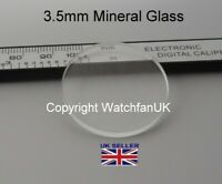Watch Glass Mineral Crystal Lens Flat Round - 3.5mm thick range 25mm to 50mm
