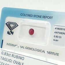 IGI 0.83ct Rubino Purplish Pink-Red Taglio Ovale Blister Certificato