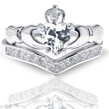 Heart Irish Celtic Clear Claddagh Wedding Engagement Silver Two Ring Set