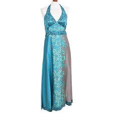 BNWT Harriet Maxi Turquoise Pure Silk Halterneck Dress - Coast - Size 14