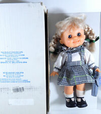 LARA DOLL MADE IN SPAIN BLACK WHITE GREEN PLAID DRESS PIGTAIL BRAIDS 13""