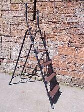 VINTAGE Metal + Wood PORTABLE Decorating STEP LADDERS Folding STRONG