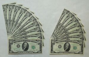 Lot of 17- 1950 & 1950 A- Federal Reserve Notes- $10- AU/BU- 2 Consecutive Runs