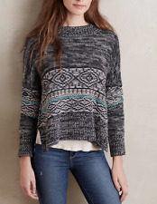 $275 ANTHROPOLOGIE CYNTHIA VINCENT BLACK GRAY LONG SLEEVE KUMI SWEATER Sz XS (P)