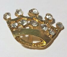 2 Gold Grade A Clear Rhinestone Crown Buckles 15mm Bar m0639