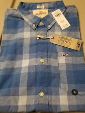 NWT Hollister Stretch Plaid Button Front Shirt Navy Plaid XL