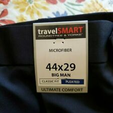 TRAVEL SMART ROUNDTREE & YORKE ULTIMATE COMFORT 44X29 BIG MAN PLEATED FRONT NAVY