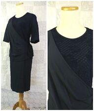 Liola VTG Dress 80s does 40s Black Cross Over Bodice Drape Wiggle Pencil Skirt M