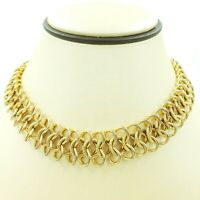 "Signed Kenneth Jay Lane Gold Tone Choker Necklace Chain Mesh Link 16""  VTG"