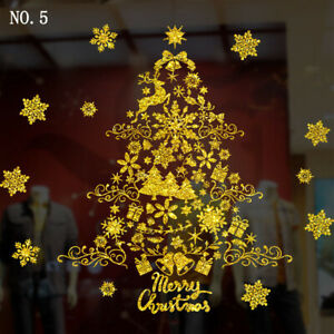 Christmas Tree Santa Removable Window Stickers Art Decals Wall Home Shop Decor