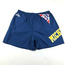 Vintage 90s University of Michigan Wolverines Mens M Blue Nylon Running Shorts