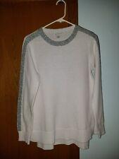 Liz Claiborne White Sweater Women's Sz Medium ~ Silver Metallic Collar & Sleeves