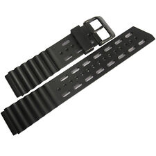 20mm Bonetto Cinturini 282 Black PVD BUCKLE Italian Rubber Dive Watch Band Strap