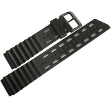 20mm Bonetto Cinturini 282 Black PVD BUCKLE Italian Rubber Dive Watch Band Strap