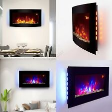 HEATSURE Wall Mounted Electric Fireplace Glass Heater Fire Remote Control LED