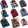 Mens Long Sleeve Plaid Flannel Warm Shirt Fleece Lined Casual Winter Dress Shirt
