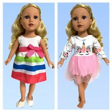 18 inch Doll Clothes Lot Two Dresses Shoes Special Occasion & Unicorn Ballerina
