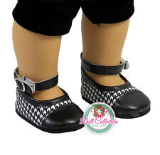 """AFW BLACK & WHITE DRESS SHOES for 18"""" Dolls American Girl Checker Buckle NEW"""