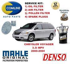 Para Chrysler Voyager 3.3 2000-2004 Filtro de Polen Aire Aceite Bujías Kit