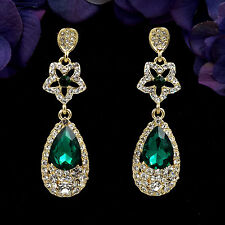 18K Gold Plated GP Green Crystal Rhinestone Drop Chandelier Dangle Earrings 6039