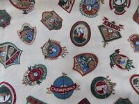 Estate Fabric Vintage Golf Emblems Sport Old Style Ad VIP Cranston Label + Quilt