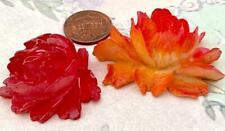 Vintage Large Orange Red Celluloid Flower Cabs Findings 2