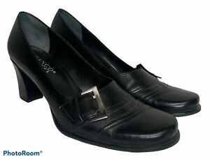 VTG Franco Sarto Womens 8 Black Leather Buckle Chunky Block Heel Loafers Shoes