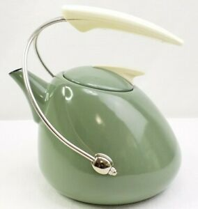 Mid Century Modern Enamel Metal Avocado Olive Green 8 Cup Tea Kettle Retro MCM