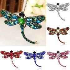 Women Retro Crystal Rhinestones Dragonfly Animal Brooch Pin Pendant Jewelry Gift