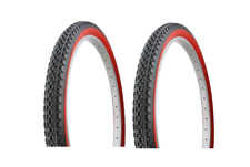 "26"" BEACH Cruiser tire bike 26 x 2.125 BLACK RED 1 PAIR"
