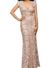 New JOVANI Nude Beige Lace Applique Formal Prom Wedding Dress Gown 4 Ret. $750
