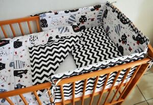 Baby Bedding Set For Crib Cot Two-Sided 120x60cm With Bumper 180cm Crazy Cats
