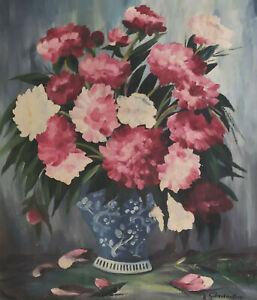 Signé R G Lackner ? - Nature Morte Fleurs dans Un Vase