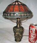 ANTIQUE BRADLEY HUBBARD BACCHUS WINE MAN JEWELED ART GLASS LAMP SCONCE LIGHT B H