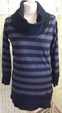 Evie long cotton top size 12 black grey stripe roll neck long sleeve VGC