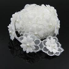 2Yd White Beaded Pearl Flower Lace Trim Applique Wedding Belt Sewing Crafts DIY