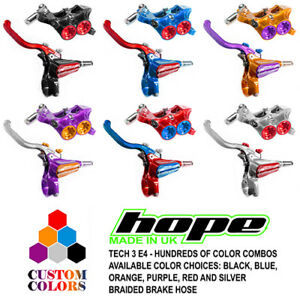 Hope Tech 3 E4 Front and Rear Brakes Black / Braided Hose - CUSTOM COLORS - New