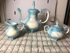 Vintage Victorian Creamer Sugar Tea Pot Set Loma Blue Iridescent Rose 5 pc.