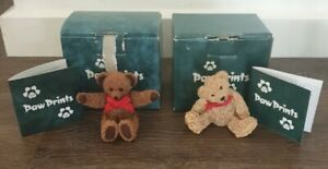 Vintage Paw Prints x 2 Bears In Box Excellent Like New Free Postage