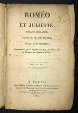 ROMÉO ET JULIETTE Opéra en trois actes par M. de Ségur et Steibelt 1821