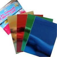 A4 Mirror Card 4 Colours Gold Red Green Purple 8 Sheets Craft Paper Metallic UK