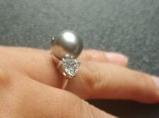 Simulated Grey Pearl with CZ accent stones cocktail ring Sz 9