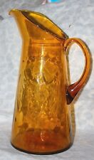 Vintage Kanawa Honey Amber Glass Pitcher Embossed AMERICAN EAGLE Design Bar