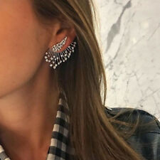 1x Femme Boucle D'oreille Clous Eventail Strass Vintage Punk Dangle Bijoux Mode