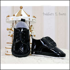 BABY BOYS BLACK WHITE SHINY PRAM SHOES CHRISTENING WEDDING BAPTISM FORMAL PARTY