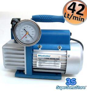 3S POMPE A VIDE CLIM FRIGORISTE 42 L/min avec électrovanne vacuomètre 1 ETAGE